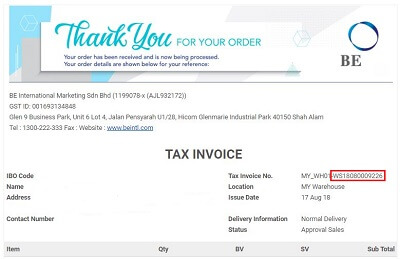 BE order tax invoice