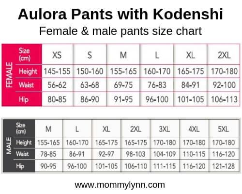 Aulora Pants Size Chart