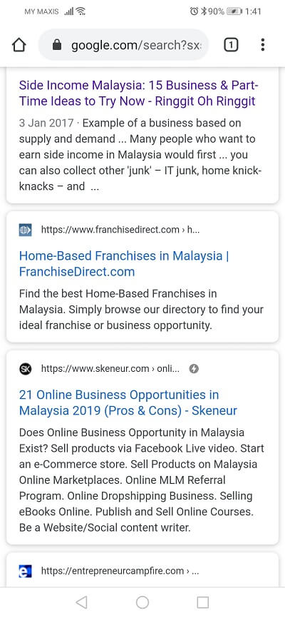 Home based business opportunities Google search results