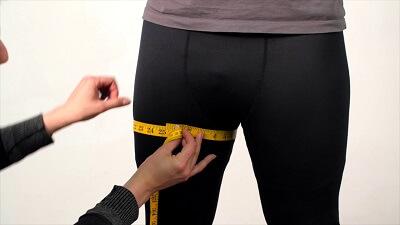 Taking thigh measurement