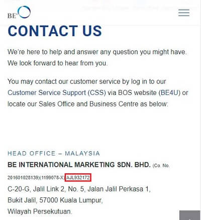 BE International contact us