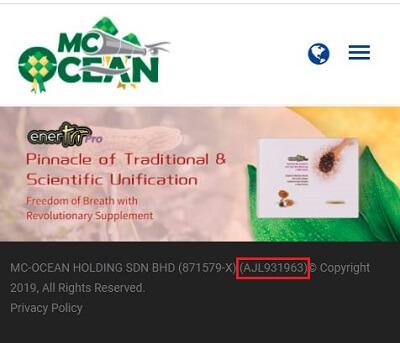 MC Ocean license number
