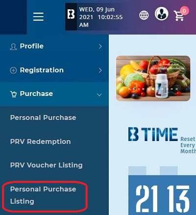 BE International Purchase Listing