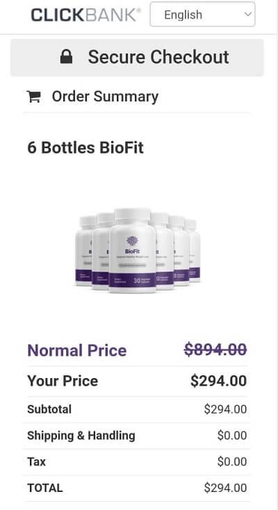 BioFit Clickbank secured checkout