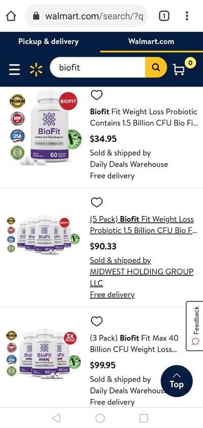 BioFit on Walmart