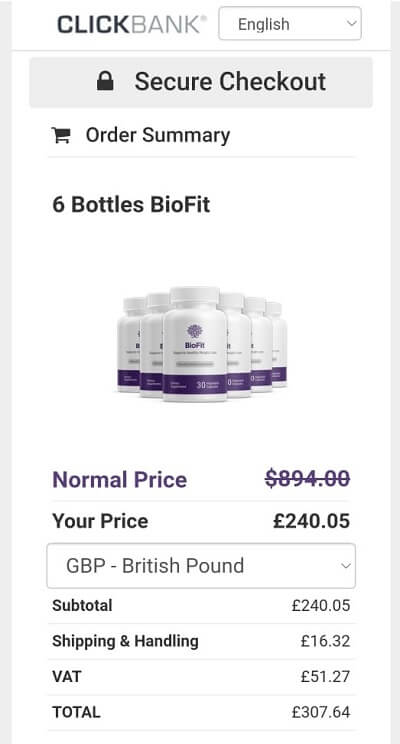 Biofit UK costing