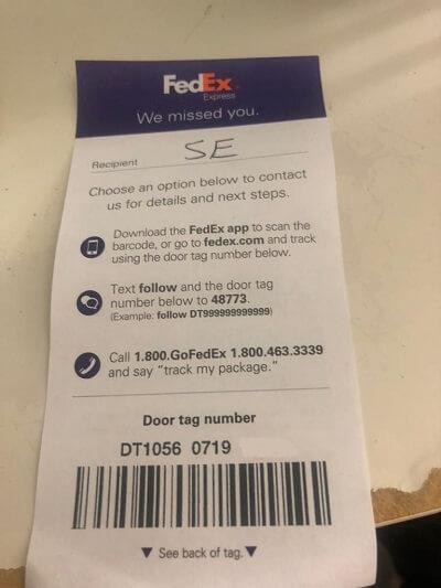 FedEx door tag